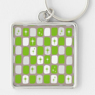 Retro Green Starbursts Premium Square Keychain