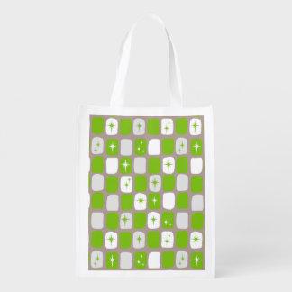 Retro Green Starbursts Reusable Grocery Bag
