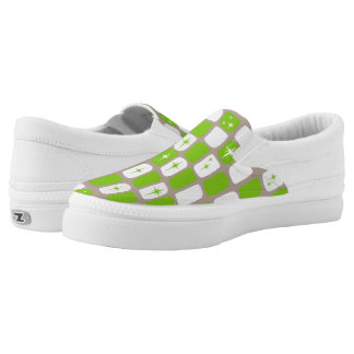 Retro Green Starbursts Slip On Shoes