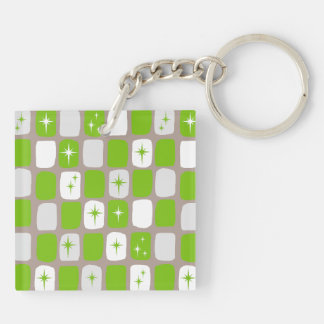 Retro Green Starbursts Square Acrylic Keychain