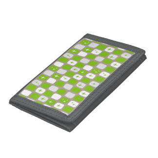 Retro Green Starbursts Trifold Nylon Wallet