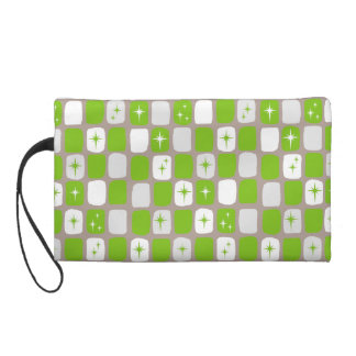 Retro Green Starbursts Wristlet