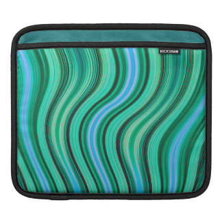 Retro green stripes pattern ipad sleeve