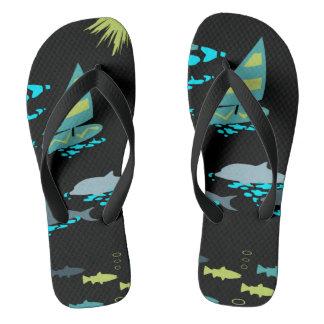 Retro Green Turquoise Black Windsurfer & Dolphins Flip Flops