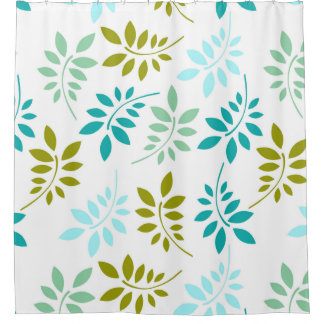 Retro Green Turquoise Leaf Pattern Shower Curtain