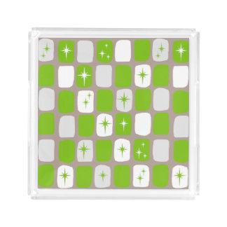 Retro Green & White Starburst Acrylic Tray