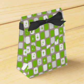 Retro Green & White Starburst Favor Box