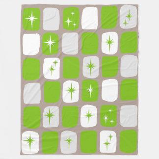 Retro Green & White Starburst Fleece Blanket