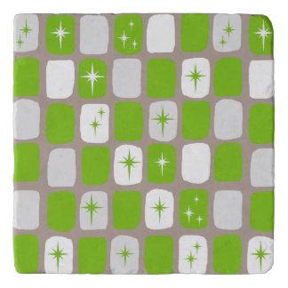 Retro Green & White Starburst Marble Trivet