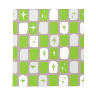 Retro Green & White Starburst Notepad