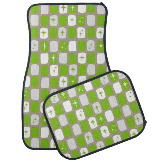 Retro Green & White Starbursts Car Mats Car Mat