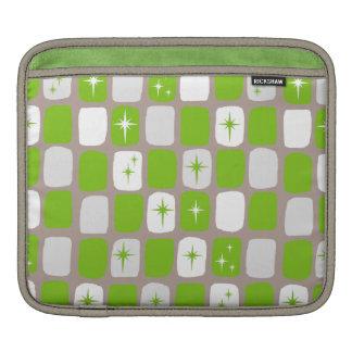 Retro Green & White Starbursts iPad Sleeve