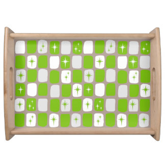 Retro Green & White Starbursts Serving Tray
