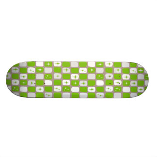 Retro Green & White Starbursts Skateboard