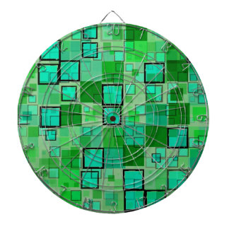 Retro Green with Black Square Abstract Dart Boards