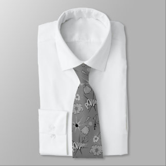 Retro Grey Comic Book Pattern Tie