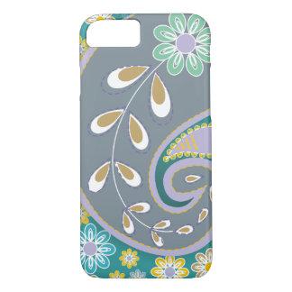 Retro grey paisley motif custom iPhone 7 case
