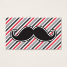 Retro grey red stripes black handlebar moustache business card