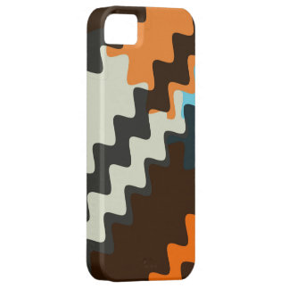 Retro Grey Seashell Brown Wavy Stripes Pattern Barely There iPhone 5 Case