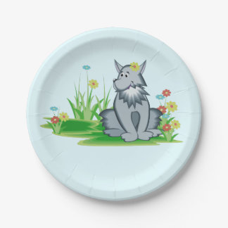 Retro Grey Wolf in Garden Paper Plates