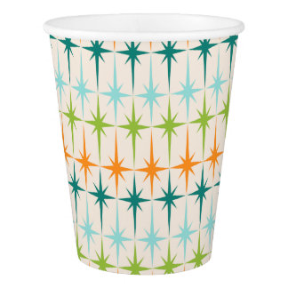 Retro Grid and Starbursts Paper Cup
