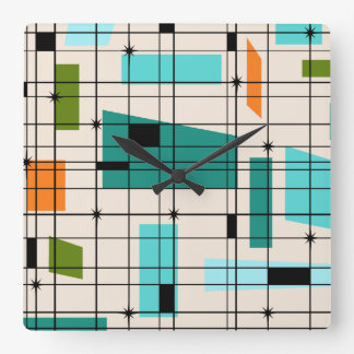 Retro Grid & Starbursts Acrylic Wall Clock
