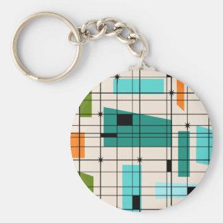 Retro Grid & Starbursts Button Keychain