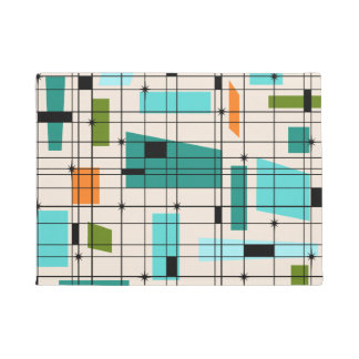 Retro Grid & Starbursts Doormat