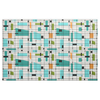 Retro Grid & Starbursts Fabric