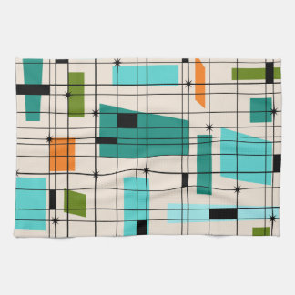 Retro Grid & Starbursts Kitchen Towel