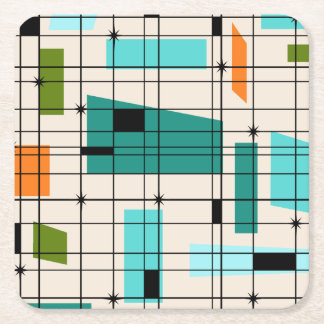 Retro Grid & Starbursts Paper Coasters