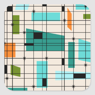 Retro Grid & Starbursts Stickers