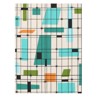 Retro Grid & Starbursts Tablecloth