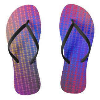 Retro Grid Sunrise Flip Flops