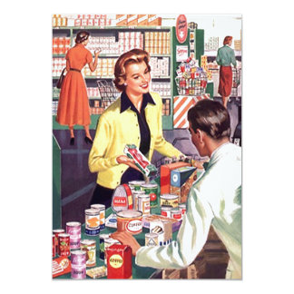 Retro Grocery Check-out Pantry Party Stock Kitchen Card