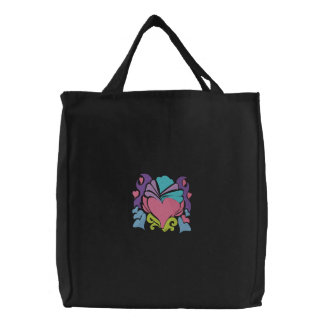 retro groove heart wave canvas bag