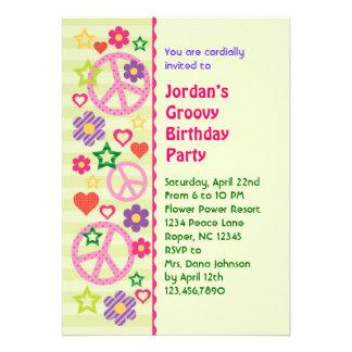 Retro Groovy Birthday Party Invitation