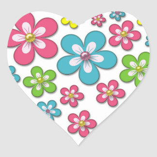 Retro Groovy Flowers Floral Pattern Heart Sticker