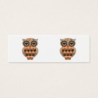 Retro Groovy Owl Orange Brown Heart Floral Swirls Mini Business Card