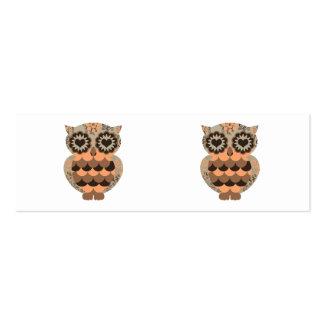 Retro Groovy Owl Orange Brown Heart Floral Swirls Pack Of Skinny Business Cards