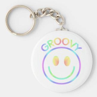 Retro Groovy Rainbow Smiley Keychain for Hippies