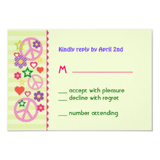Retro Groovy RSVP Card 9 Cm X 13 Cm Invitation Card