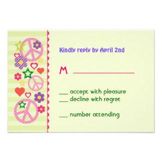 Retro Groovy RSVP Card Custom Invites