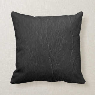 Retro Grunge Black Leather Custom Throw Pillow