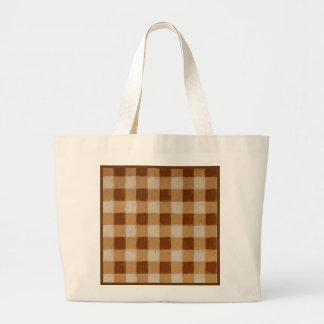 Retro Grunge Brown Gingham Canvas Bag