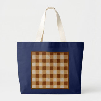 Retro Grunge Brown Gingham Navy Blue Tote Bag