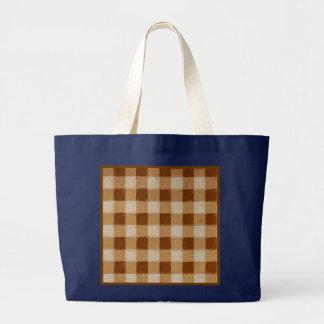 Retro Grunge Brown Gingham Navy Blue Jumbo Tote Bag