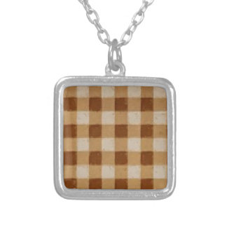 Retro Grunge Brown Gingham Custom Necklace