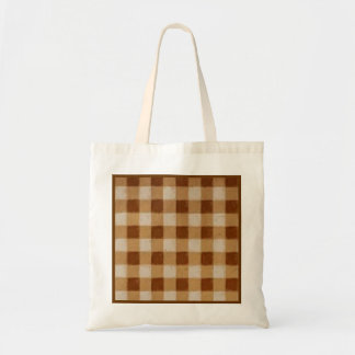 Retro Grunge Brown Gingham Party Favor Gift Tote Bag