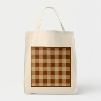 Retro Grunge Brown Gingham Reusable Bag